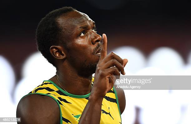 Usain Bolt of Jamaica prepares for the Men's 200 metres heats during the '15th IAAF World Athletics Championships Beijing 2015' at Beijing National...