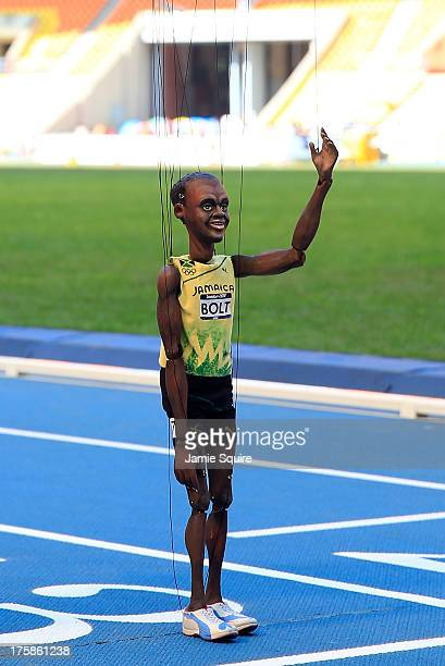 Usain Bolt of Jamaica puppet is seen on the track ahead of the 14th IAAF World Athletics Championships Moscow 2013 at the Luzhniki Sports Complex on...