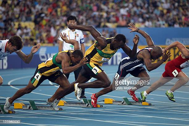 Usain Bolt of Jamaica pushes off to start his men's 100 metres semi final during day two of the 13th IAAF World Athletics Championships at the Daegu...