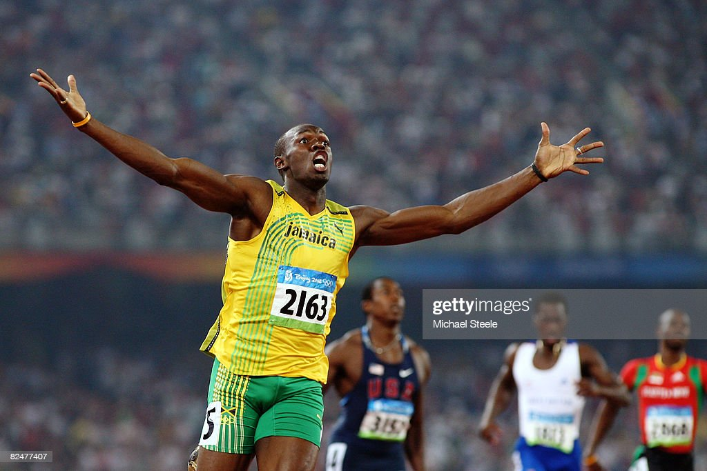 Usain Bolt of Jamaica reacts after breaking the world record with a time of 19.30 to win the gold medal in the men's 200m final during the track and field athletics event at the National Stadium during Day 12 of the Beijing 2008 Olympic Games on August 20, 2008 in Beijing, China.