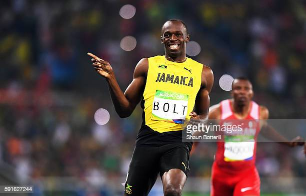 Usain Bolt of Jamaica reacts after competing in the Men's 200m Semifinals on Day 12 of the Rio 2016 Olympic Games at the Olympic Stadium on August 17...