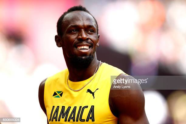 Usain Bolt of Jamaica reacts after competing in the Men's 4x100 Metres Relay heats during day nine of the 16th IAAF World Athletics Championships...