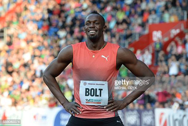 Usain Bolt of Jamaica reacts after winning the Men's 100m event at the IAAF World challenge Zlata Tretra athletics tournament in Ostrava on May 20...