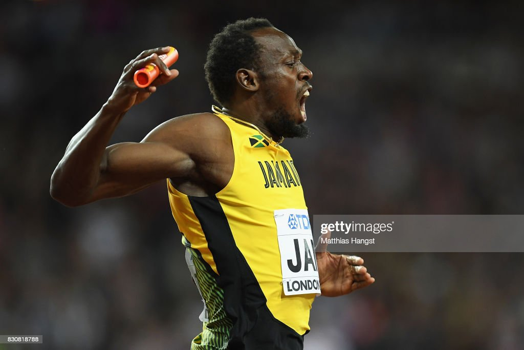 Usain Bolt of Jamaica reacts during the Men's 4x100 Relay final during day nine of the 16th IAAF World Athletics Championships London 2017 at The London Stadium on August 12, 2017 in London, United Kingdom.