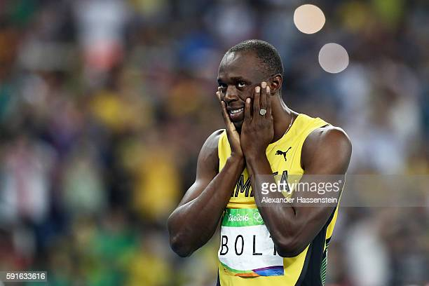 Usain Bolt of Jamaica reacts prior to competing in the Men's 200m Semifinals on Day 12 of the Rio 2016 Olympic Games at the Olympic Stadium on August...