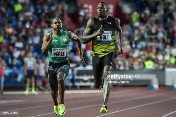 Usain Bolt of Jamaica runs during the 100 meters men IAAF World challenge Zlata Tretra in Ostrava Czech Republic on June 28 2017