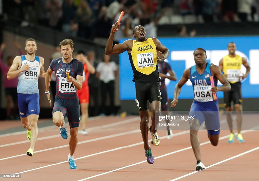 Usain Bolt of Jamaica shouts out in agony as he stops running due to injury in the final of the mens 4 x 100m during day nine of the IAAF World Athletics Championships 2017 at the Olympic Stadium on August 12, 2017 in London