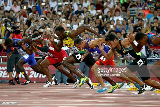 Usain Bolt of Jamaica sprints from the blocks at the start of the Men's 100 metres heats during day one of the 15th IAAF World Athletics...
