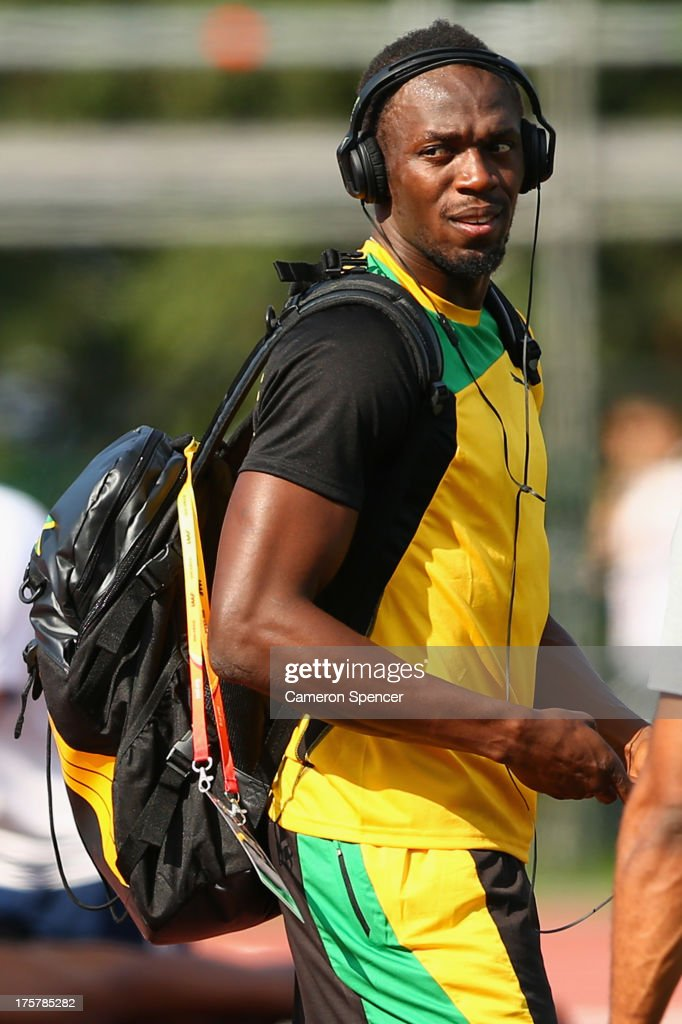 Usain Bolt of Jamaica walks across the Northern Arena training track ahead of the 14th IAAF World Athletics Championships Moscow 2013 on August 8, 2013 in Moscow, Russia.