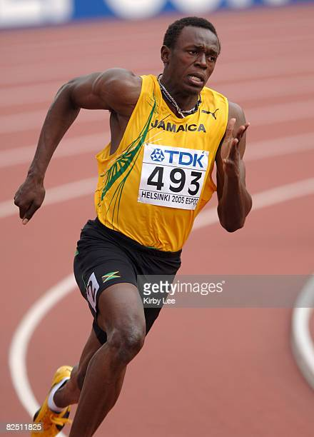 Usain Bolt of Jamaica wins first-round heat of men's 200 meters in 20.80 in the IAAF World Championships in Athletics at Olympic Stadium in Helsinki,...