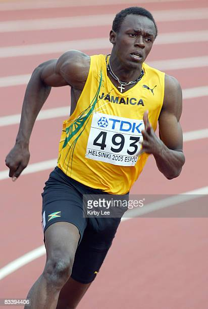 Usain Bolt of Jamaica wins firstround heat of men's 200 meters in 2080 in the IAAF World Championships in Athletics at Olympic Stadium in Helsinki...