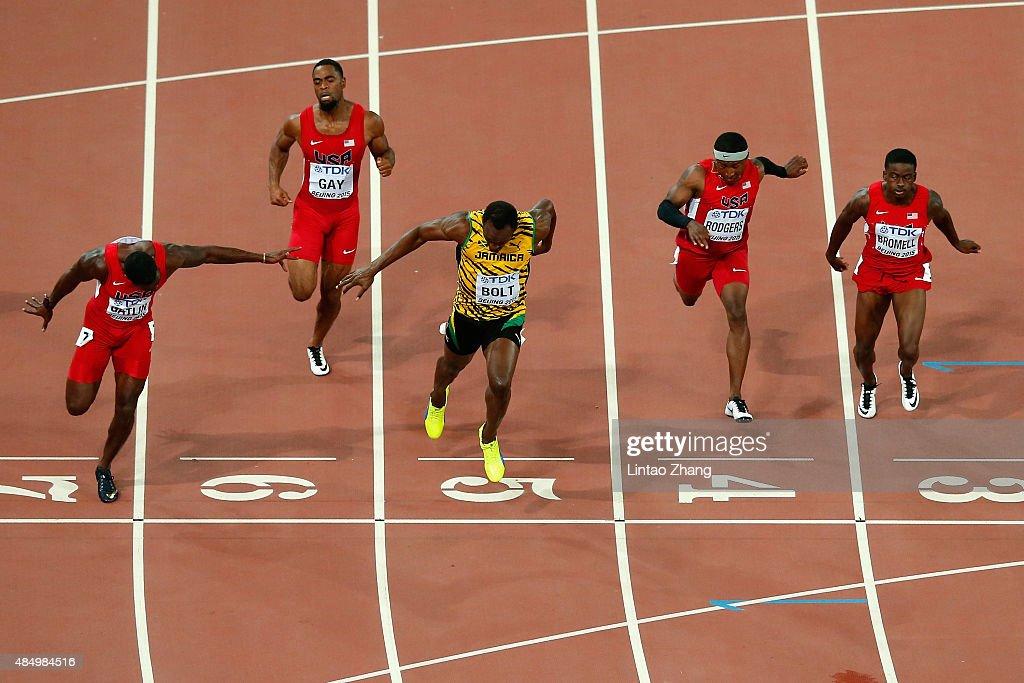 Usain Bolt of Jamaica wins gold ahead of Justin Gatlin of ...
