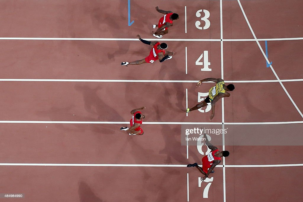Usain Bolt of Jamaica (R) wins gold ahead of (bottom to top) Justin Gatlin of the United States, Tyson Gay of the United States, Mike Rodgers of the United States and Trayvon Bromell of the United States during the Men's 100 metres final during day two of the 15th IAAF World Athletics Championships Beijing 2015 at Beijing National Stadium on August 23, 2015 in Beijing, China.