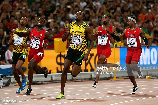 Usain Bolt of Jamaica wins gold in the Men's 100 metres final during day two of the 15th IAAF World Athletics Championships Beijing 2015 at Beijing...