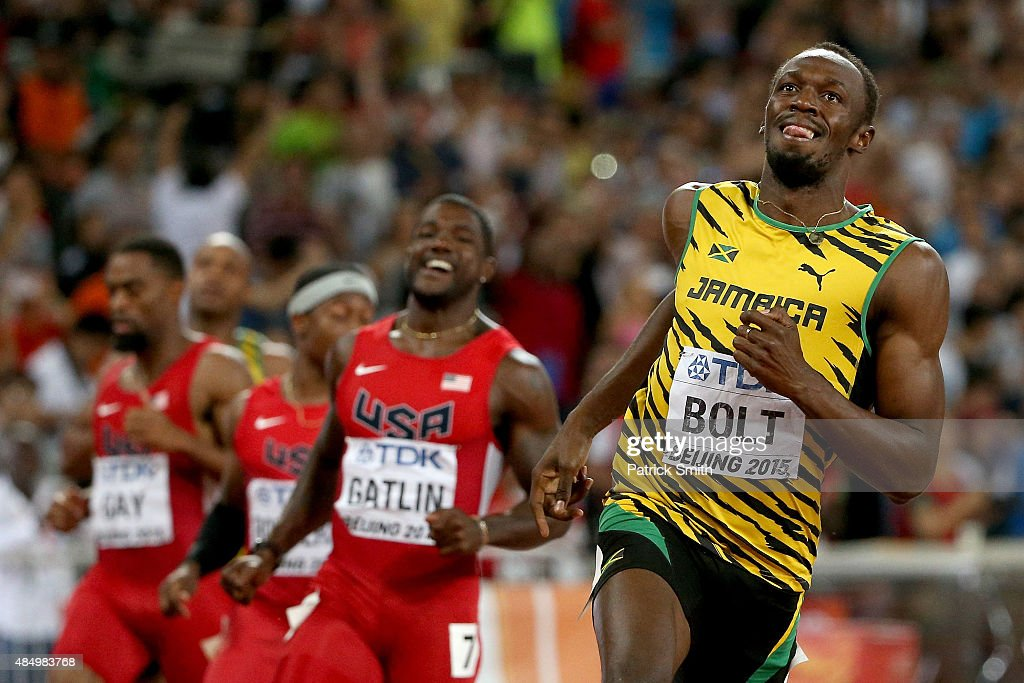 Usain Bolt of Jamaica wins gold in the Men's 100 metres final during day two of the 15th IAAF World Athletics Championships Beijing 2015 at Beijing National Stadium on August 23, 2015 in Beijing, China.