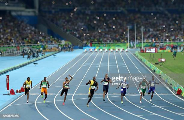 Usain Bolt of Jamaica wins the Men's 100 meter final on Day 9 of the Rio 2016 Olympic Games at the Olympic Stadium on August 14 2016 in Rio de...