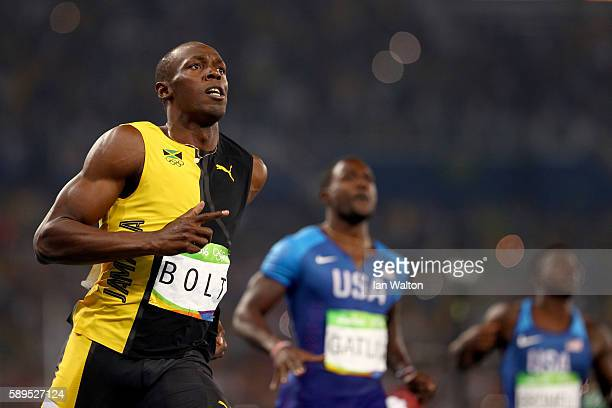 Usain Bolt of Jamaica wins the Men's 100m Final ahead of Justin Gatlin of the United States on Day 9 of the Rio 2016 Olympic Games at the Olympic...