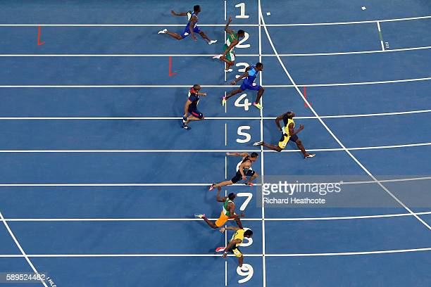 Usain Bolt of Jamaica wins the Mens 100m final on Day 9 of the Rio 2016 Olympic Games at the Olympic Stadium on August 14 2016 in Rio de Janeiro...