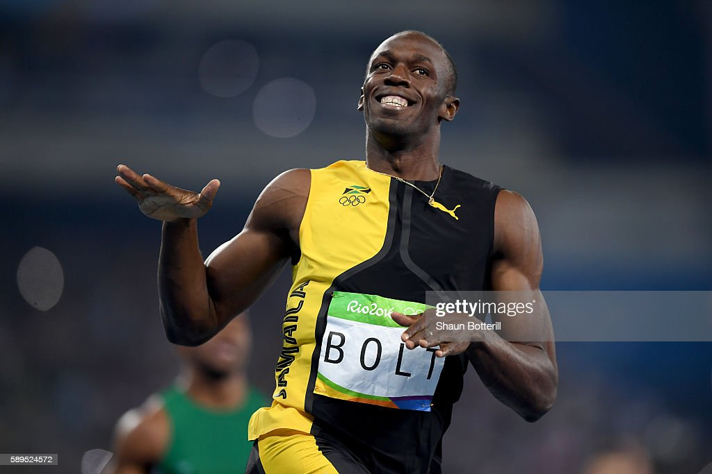 Usain Bolt of Jamaica wins the Men's 100m Final on Day 9 of the Rio 2016 Olympic Games at the Olympic Stadium on August 14, 2016 in Rio de Janeiro, Brazil.