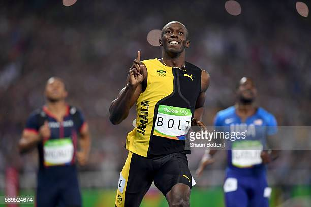 Usain Bolt of Jamaica wins the Men's 100m Final on Day 9 of the Rio 2016 Olympic Games at the Olympic Stadium on August 14, 2016 in Rio de Janeiro,...