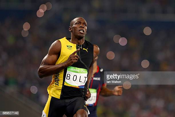Usain Bolt of Jamaica wins the Men's 100m Final on Day 9 of the Rio 2016 Olympic Games at the Olympic Stadium on August 14 2016 in Rio de Janeiro...
