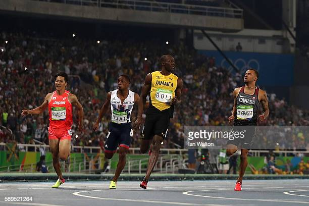 Usain Bolt of Jamaica wins the Mens 100m Semi Final ahead of Andre De Grasse of Canada Chijindu Ujah of Great Britain and Ryota Yamagata of Japan on...
