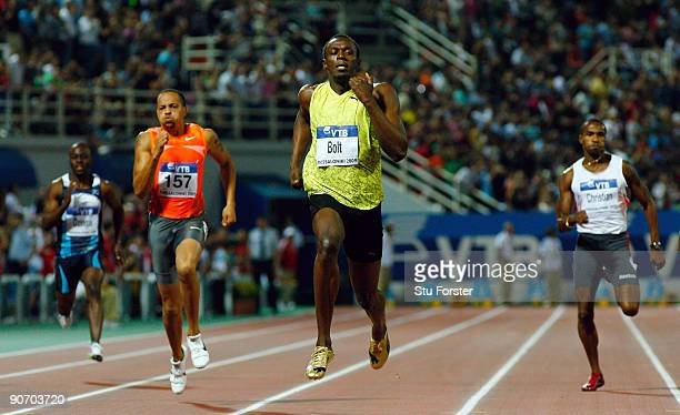 Usain Bolt of Jamaica wins the Mens 200 metres during day two of the IAAF World Athletics Final at the Kaftanzoglio stadium on September 13, 2009 in...