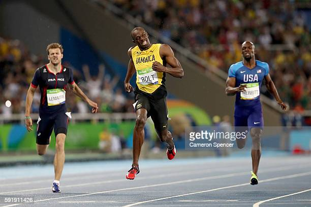 Usain Bolt of Jamaica wins the Men's 200m Final ahead of Lashawn Merritt of the United States and Christophe Lemaitre of France on Day 13 of the Rio...