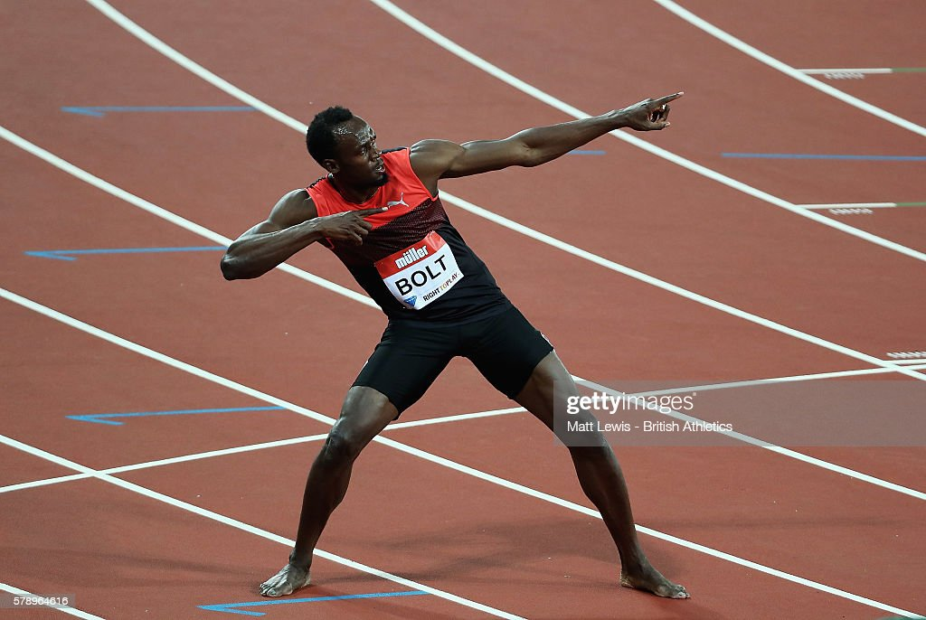 Usain Bolt of Jamiaca celebrates winning the Mens 200m Final during day one of the Muller Anniversary Games at The Stadium - Queen Elizabeth Olympic Park on July 22, 2016 in London, England.