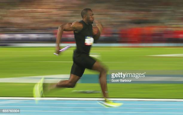 Usain Bolt of of Usain Bolt's AllStar team competes in the Mixed 4x100 Meter Relay during Nitro Athletics at Lakeside Stadium on February 4 2017 in...
