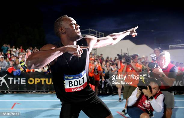 Usain Bolt of Usain Bolt's AllStar team celebrates after winning the Mens 150 Metre Race during the Melbourne Nitro Athletics Series at Lakeside...