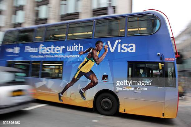 Usain Bolt on the side of a London Bus advertising Visa in London city centre as London prepares for the London 2012 Olympic games UK 14th July 2012...