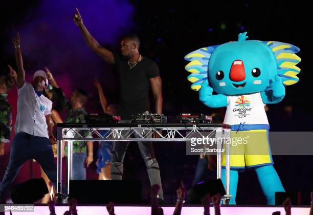 Usain Bolt performs during the Closing Ceremony for the Gold Coast 2018 Commonwealth Games at Carrara Stadium on April 15 2018 on the Gold Coast...