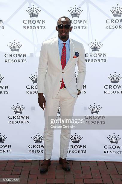 Usain Bolt poses at the Crown Marquee on Crown Oaks Day at Flemington Racecourse on November 3 2016 in Melbourne Australia