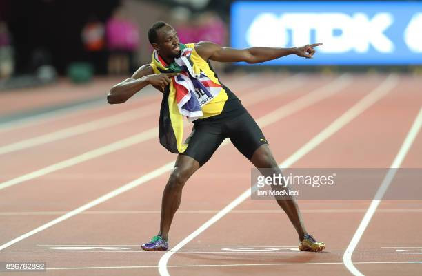 Usain Bolt reacts after the Men's 100m final during day two of the 16th IAAF World Athletics Championships London 2017 at The London Stadium on...