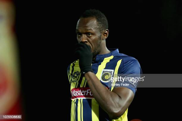 Usain Bolt reacts during the preseason match between the Central Coast Mariners and Central Coast Football at Central Coast Stadium on August 31 2018...