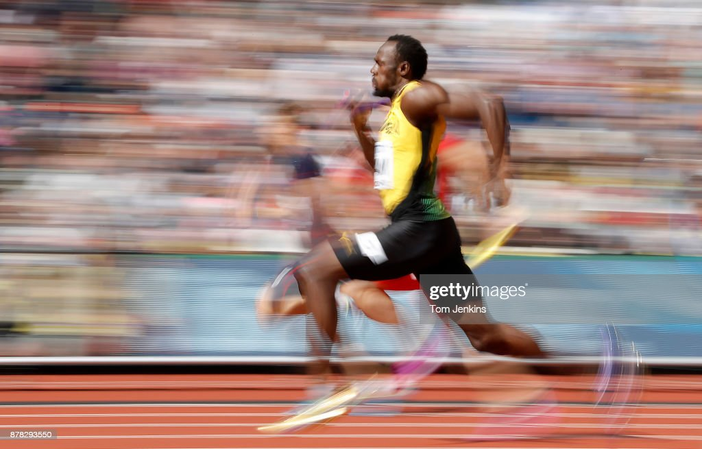 Usain Bolt sprints away from the competition as he wins for Jamaica in the heats of the mens 4 x 100m during day nine of the IAAF World Athletics Championships 2017 at the Olympic Stadium on August 12, 2017 in London