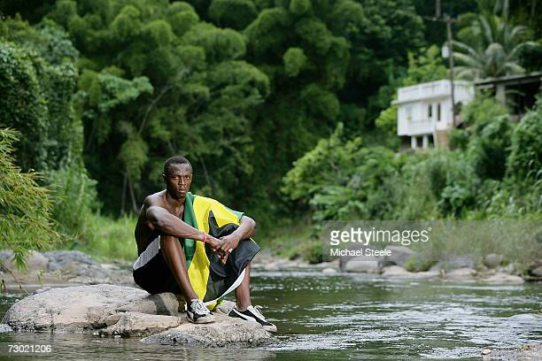 Usain Bolt the 200m and 400m sprinter poses during a photo shoot at Brandon Hill on October 19 2006 in Kingston Jamaica