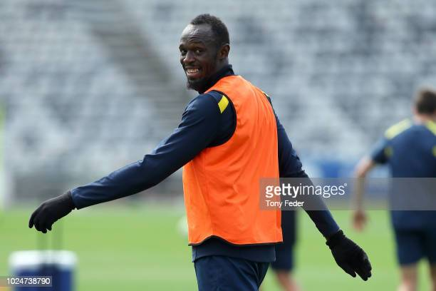 Usain Bolt trains during a Central Coast Mariners training session at Central Coast Stadium on August 28, 2018 in Gosford, Australia.