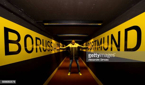 Usain Bolt trains with the team of Borussia Dortmund After training he visited the Signal Iduna Park stadium on March 22 2018 in Dortmund Germany