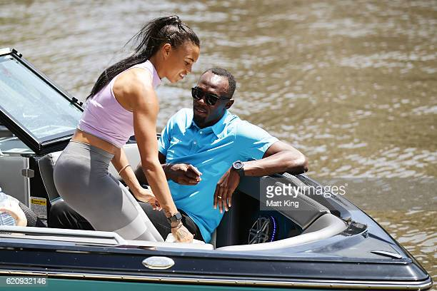 Usain Bolt travels by boat with Australian Olympian Morgan Mitchell to the launch of Nitro Athletics on November 4, 2016 in Melbourne, Australia.