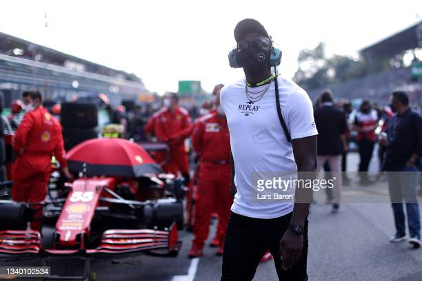 Usain Bolt walks on the grid before the F1 Grand Prix of Italy at Autodromo di Monza on September 12, 2021 in Monza, Italy.