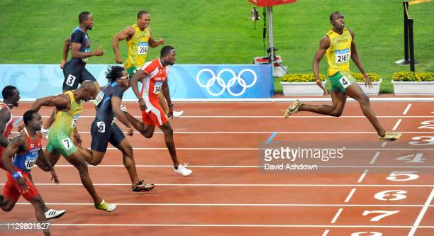 Usain Bolt wins gold in the 100m final at the Summer Olympic Games in Beijing China 16th August 2008.