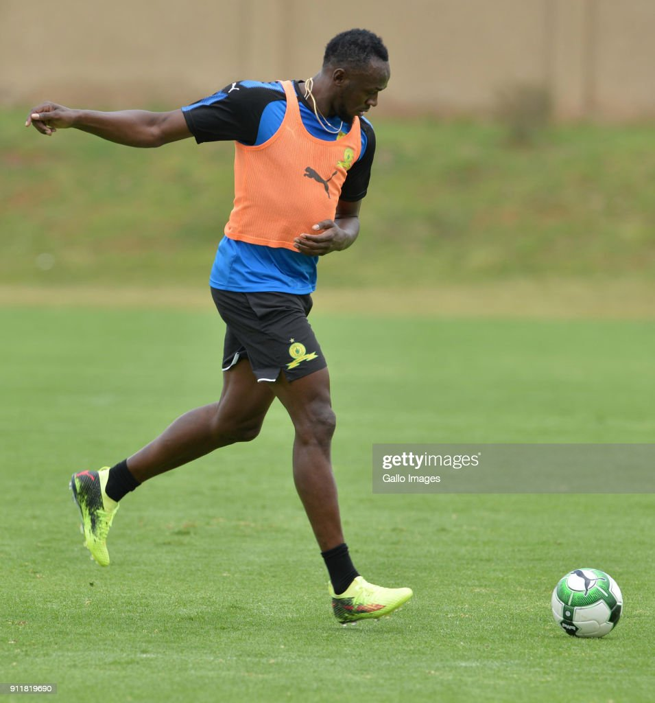 Absa Premiership: Usain Bolt Visit to Mamelodi Sundowns Training Session : News Photo