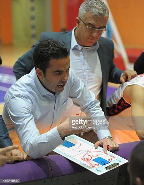 Usak Sportif's head coach Ozan Bulkaz during FIBA EuroChallenge Group H basketball match between Usak Sportif and BC Siauliai in Usak, Turkey on...