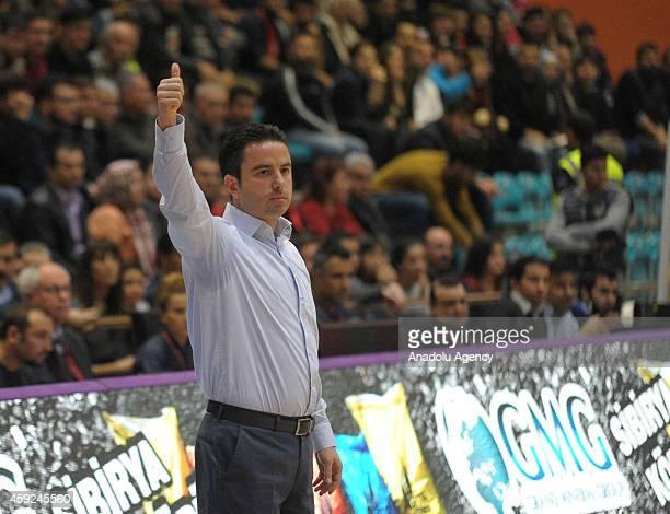 Usak Sportif's head coach Ozan Bulkaz reacts during FIBA EuroChallenge Group H basketball match between Usak Sportif and BC Siauliai in Usak, Turkey...