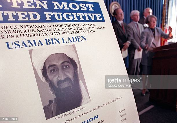 Usama Bin Laden is seen on a poster at the US Justice Department press conference announcing the arrest and arraignment of Khalfan Khamis Mohamed 08...