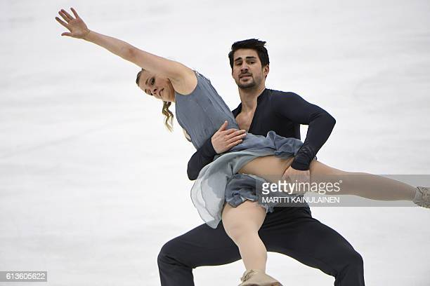 American' s figure skater Madison Hubbell and Zachary Donohue perform in the ice dance free dance during the figure skating Finlandia Trophy...