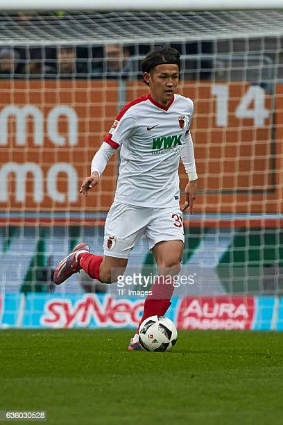 Usami Takashi of Augsburg in action during the Bundesliga match between FC Augsburg and Borussia Moenchengladbach at WWKArena on December 17 2016 in...