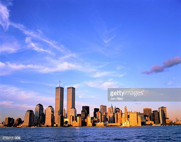 usa,new york,lower manhattan, hudson river in foreground - world trade center manhattan stock pictures, royalty-free photos & images